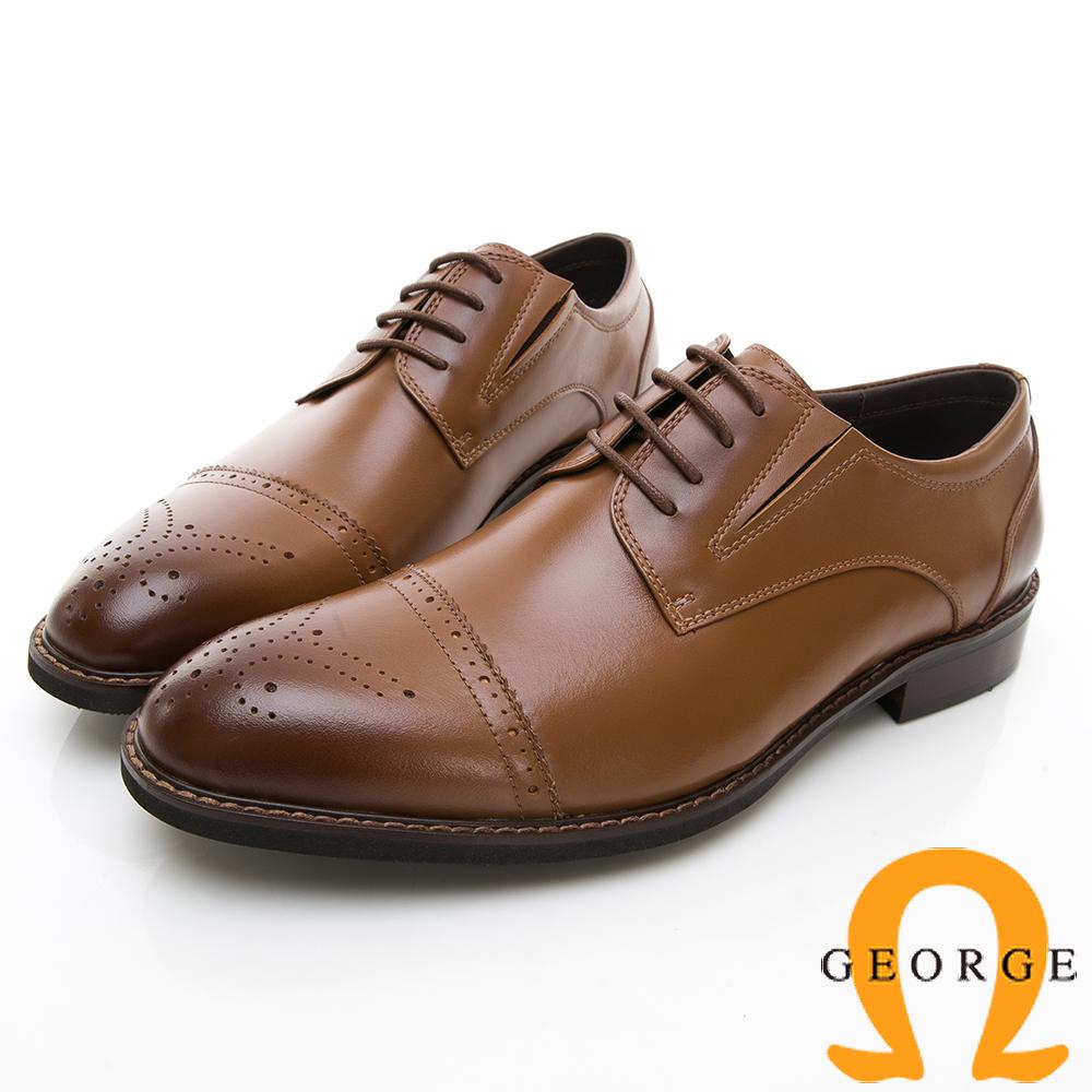 【GEORGE 喬治皮鞋】商務時尚 圓頭立體圓頭紳士皮鞋-棕色
