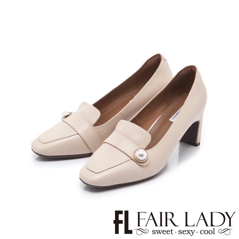 FAIR LADY 優雅小姐 經典方頭珍珠飾釦扁跟鞋 杏