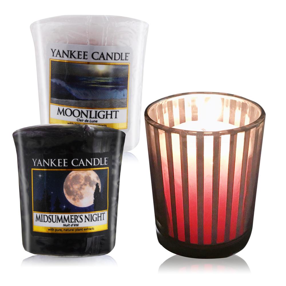 YANKEE CANDLE 香氛蠟燭-仲夏之夜+月光49gX2+祈禱燭杯