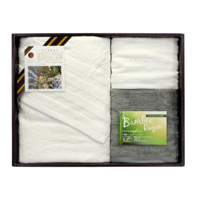 日本丸真 土耳其製無印風竹炭紗毛巾禮盒三件組(洗臉巾*1+毛巾*1+浴巾*1)