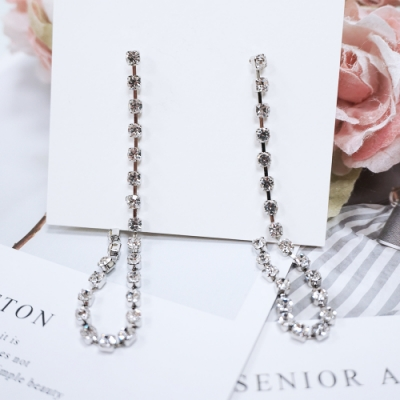 Prisme 美國時尚飾品 華麗垂墜水鑽 銀色耳環