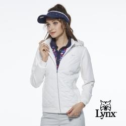 女款防水鋪棉菱格紋羅馬布拼接可拆式連帽長袖外套