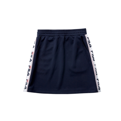 FILA KIDS 女童針織短裙-丈青 5SKT-8444-NV