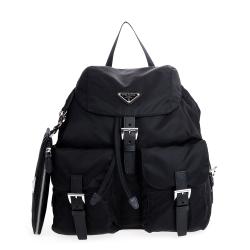 新款經典三角LOGO尼龍束口磁釦雙口袋大款後背包