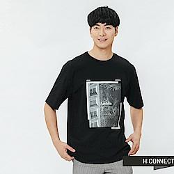 H:CONNECT 韓國品牌 男裝-相片感印花圓領T-shirt-黑