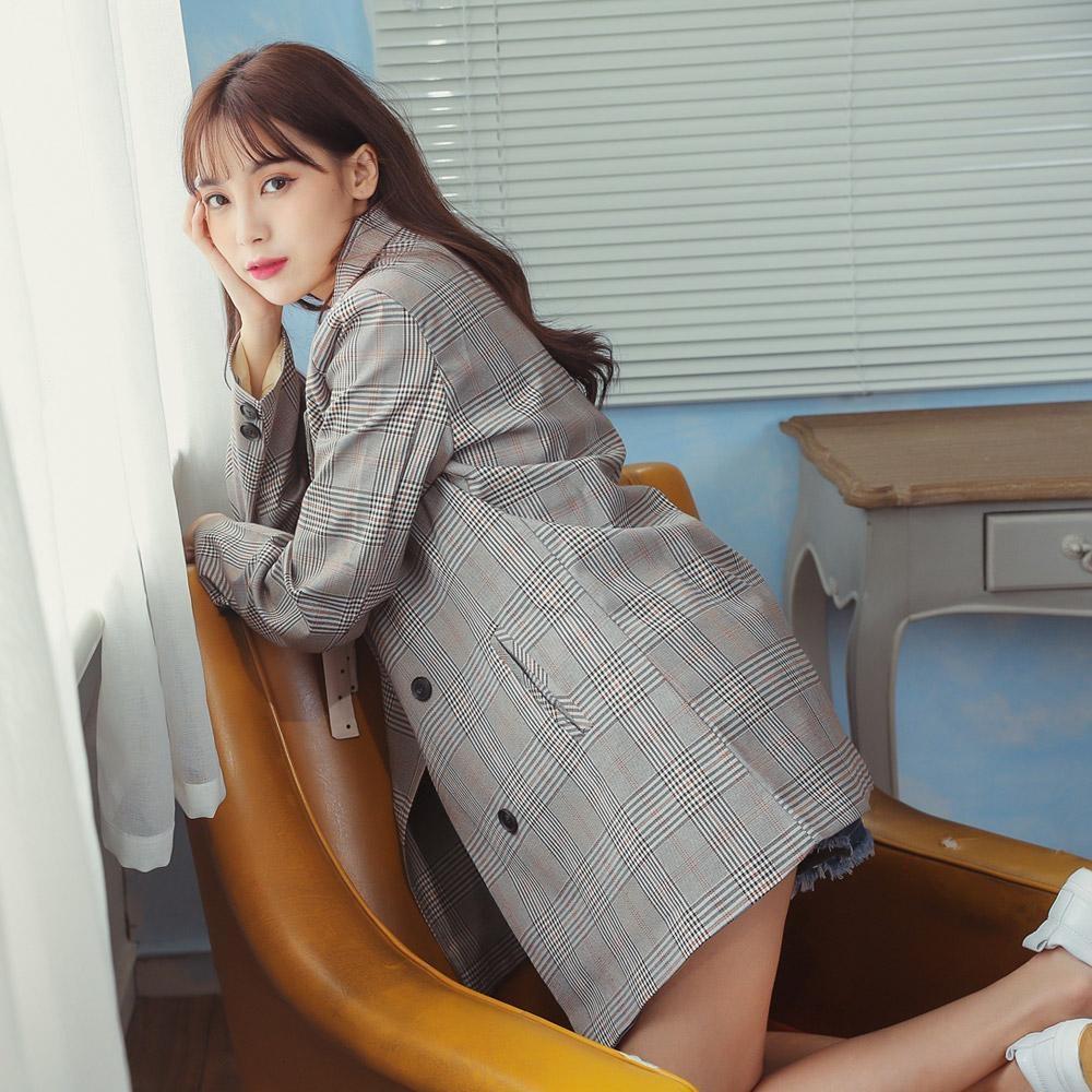 SUPER COLOR 韓版格紋英倫風高級修身中長版西裝外套