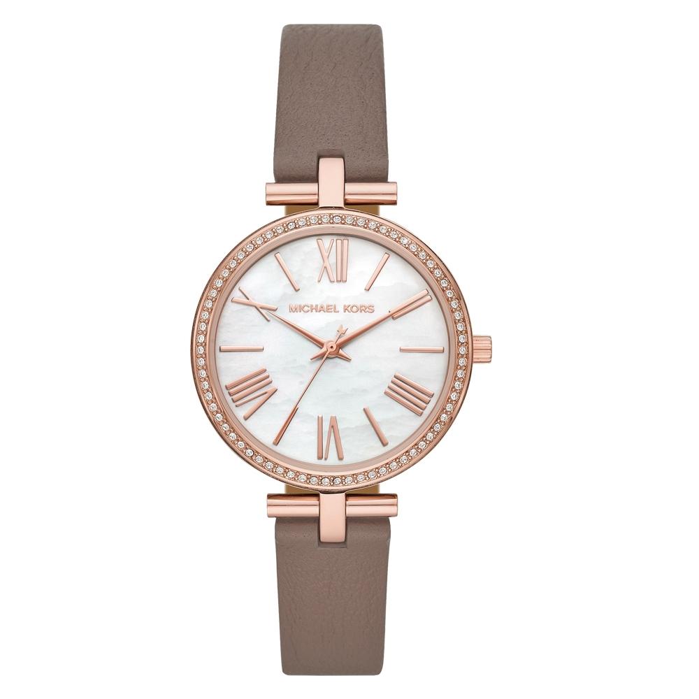 Michael Kors 夏日悠悠晶鑽貝殼面腕錶-卡其(MK2832)34mm
