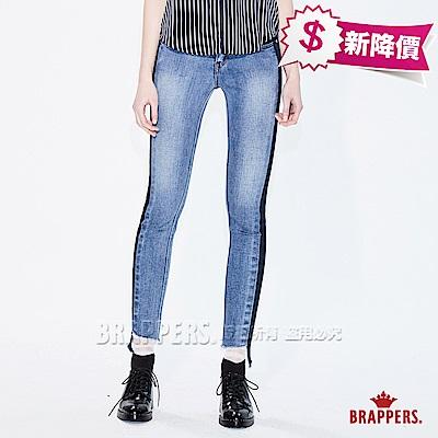 BRAPPERS 女款 新美腳系列-女用外縫拼色搭配褲口剪裁窄管褲-藍