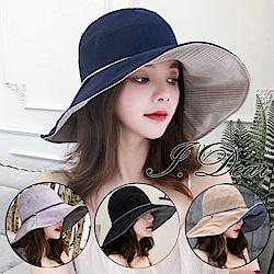 I.Dear-日韓氣質條紋雙面配戴遮陽帽漁夫帽(4色)