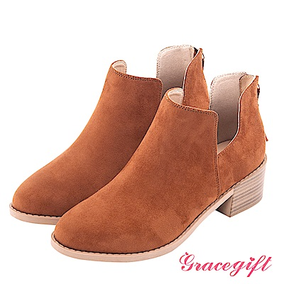 Grace gift-絨面U口後流蘇拉鍊短靴 棕