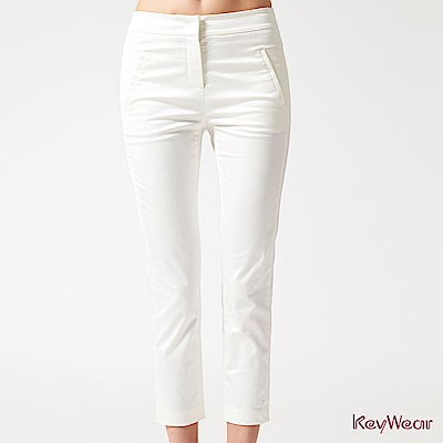 KeyWear奇威名品    典雅光澤時尚商務九分褲-白色