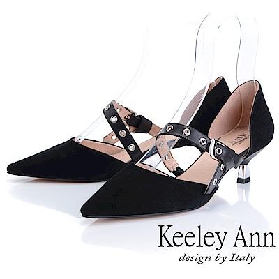 Keeley Ann慵懶盛夏 真皮金屬鉚釘細跟尖頭包鞋(黑色)