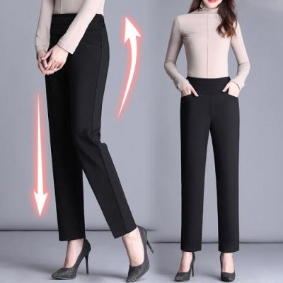 初色  高腰顯瘦直筒褲-黑色-(M-2XL可選)