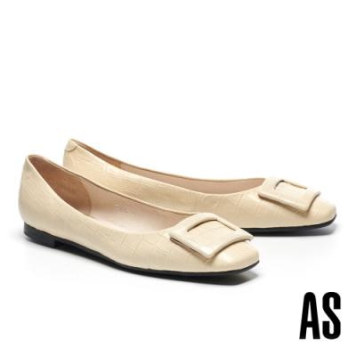 低跟鞋 AS 優雅知性質感方釦全真皮方頭低跟鞋-米