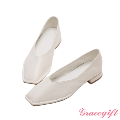 Grace gift-素面方頭車線平底鞋 白
