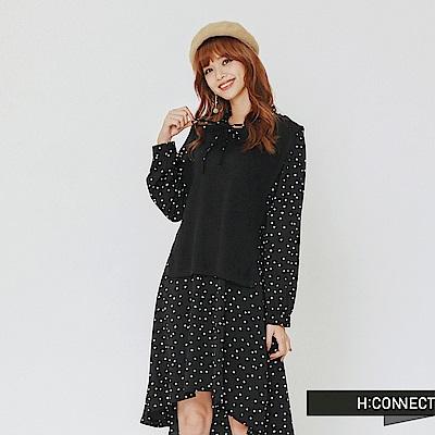 H:CONNECT 韓國品牌 女裝-兩件式圓點綁帶洋裝-黑