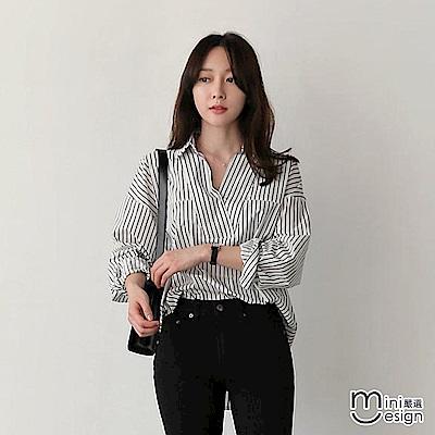 造型V領條紋寬鬆垂肩襯衫-mini嚴選