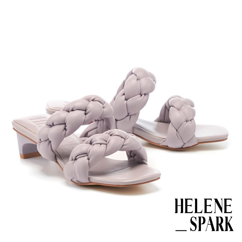 拖鞋 HELENE SPARK 柔軟麻花編織條帶方頭低跟拖鞋-紫