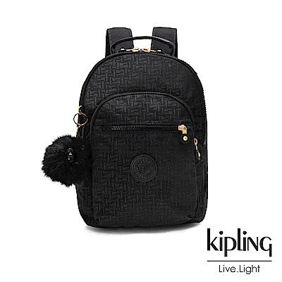 Kipling黑色幾何紋路後背包-CLAS SEOUL S