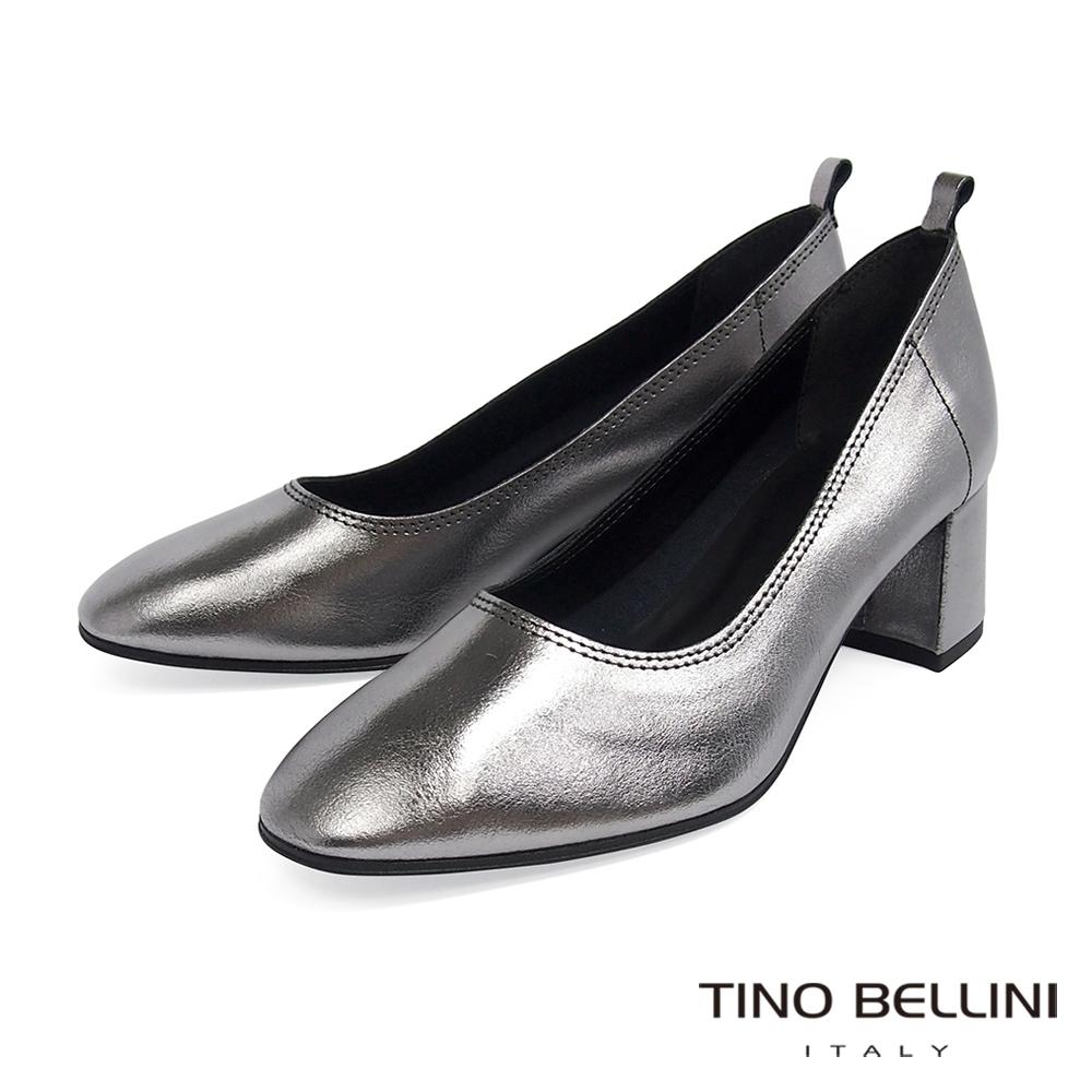 Tino Bellini義大利進口雅緻牛皮中粗跟鞋_銀灰