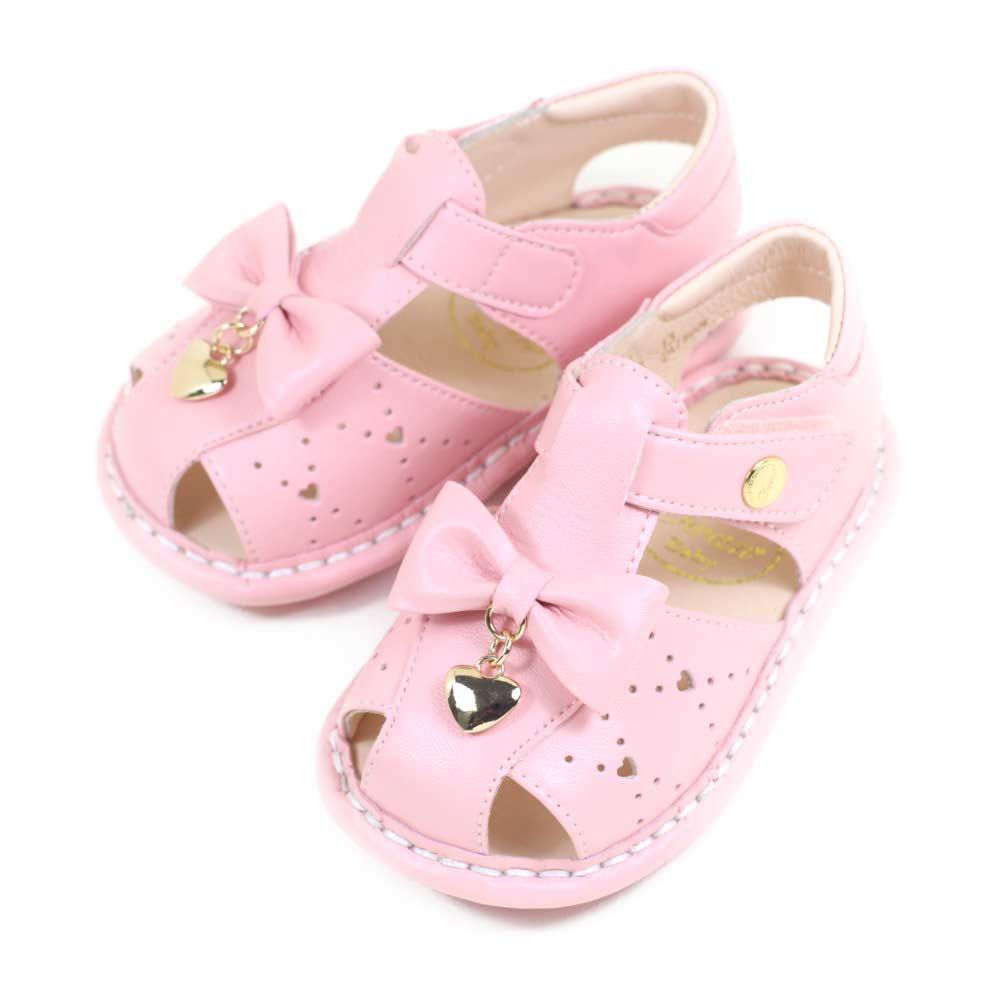 Swan天鵝童鞋-愛心吊飾雕花蝴蝶結寶寶涼鞋1572-粉