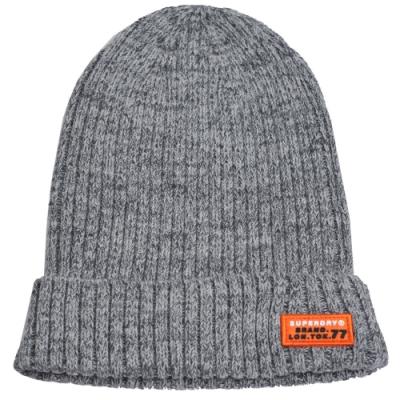 SUPERDRY 極度乾燥字母LOGO布標毛帽(黑灰)