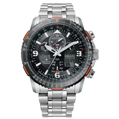 CITIZEN 星辰PROMASTER光動能電波鈦金屬航空錶-黑45.4mm(JY8109-85E)