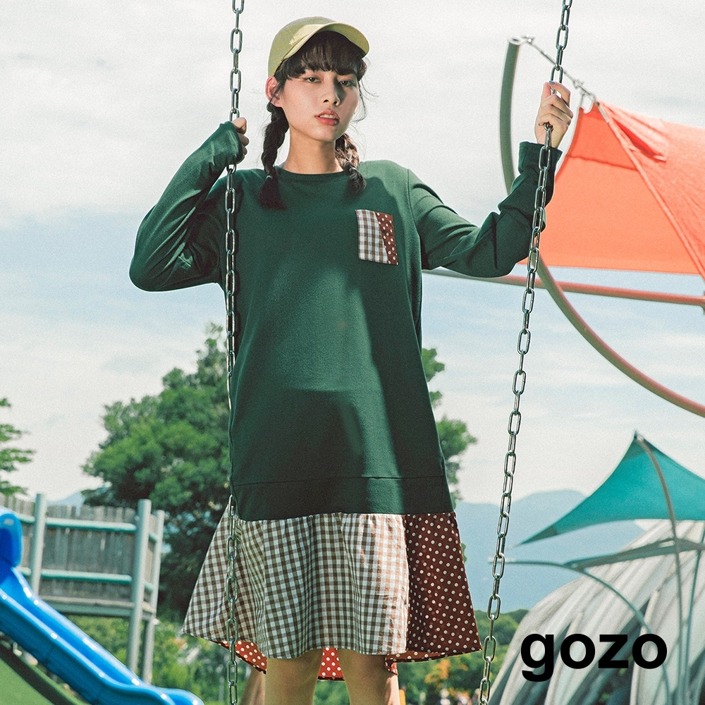 gozo 格紋點點拼布風下襬洋裝(三色)