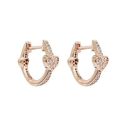Pandora 潘朵拉 魅力環狀愛心鑲鋯玫瑰金 純銀耳環