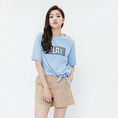 H:CONNECT 韓國品牌 女裝-活力印字綁結造型上衣-藍