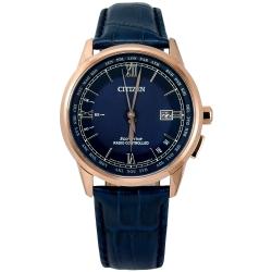 CITIZEN 光動能 電波錶 萬年曆 藍寶石水晶玻璃 壓紋牛皮手錶-藍x玫瑰金/42mm