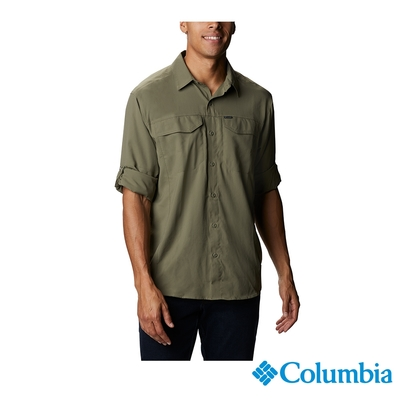 Columbia 哥倫比亞 男款- UPF40快排長袖襯衫-軍綠  UAE15680AG