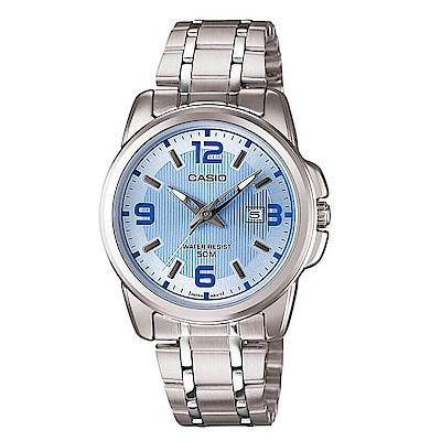CASIO卡西歐 水漾活力躍動時光女錶(LTP-1314D-2A)-水藍/36.5mm