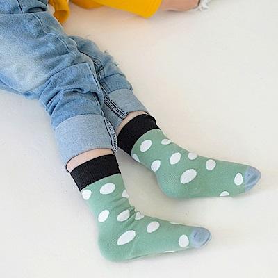 高含棉繽紛撞色點點兒童襪-OB大尺碼