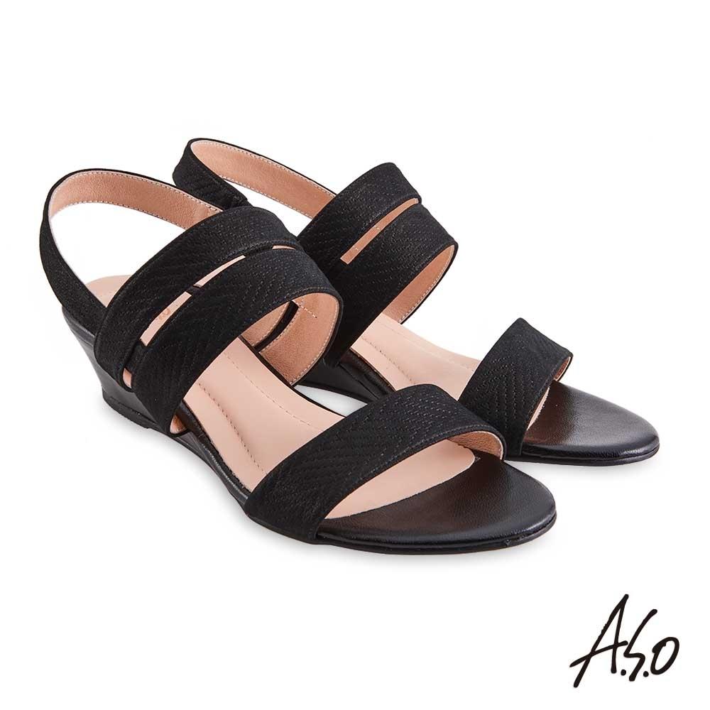 A.S.O 時尚流行 健步美型閃色金箔羊皮楔型涼鞋-黑