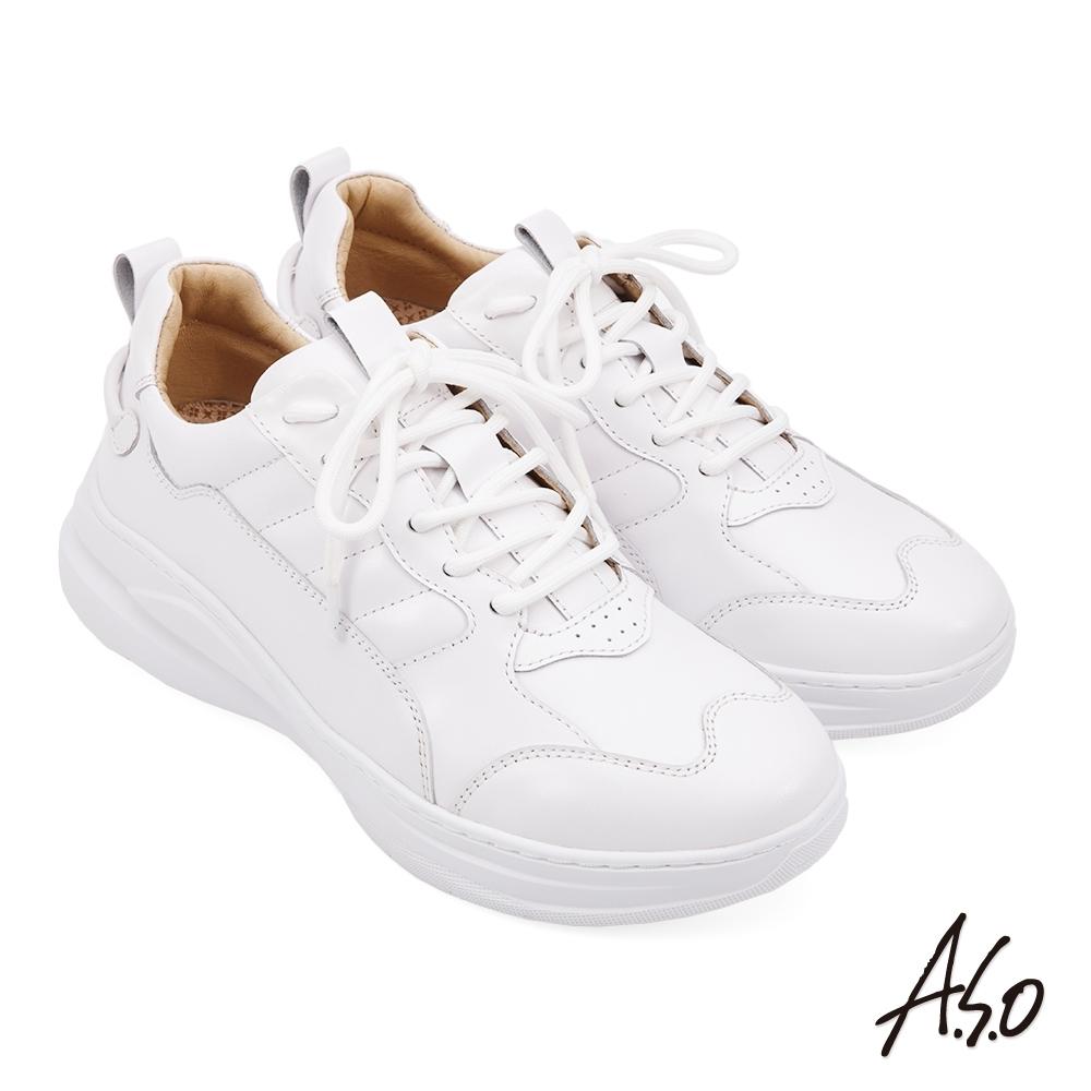 A.S.O 勁步健康綁帶休閒鞋-白色