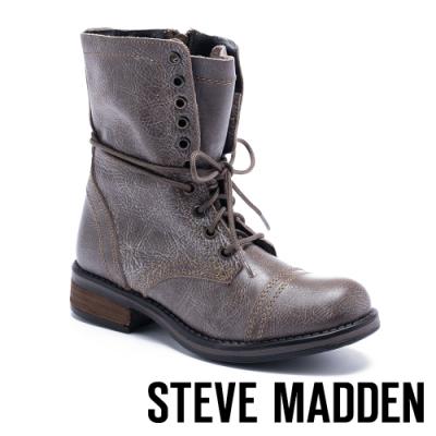 STEVE MADDEN-TROOPA 2.0經典中性軍靴款真皮高筒靴-棕色