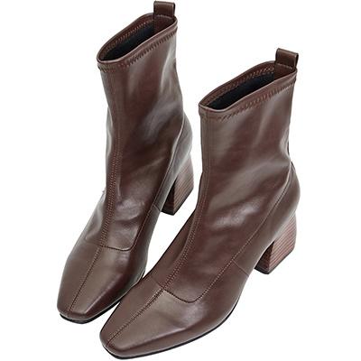 AIR SPACE 木紋粗跟尖頭皮革中筒靴(咖啡)