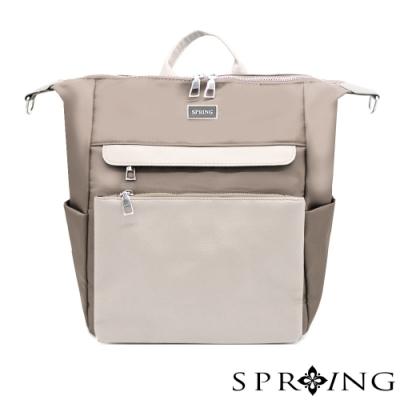 SPRING-未來系列尼龍3用後背包 A4可-優雅灰棕