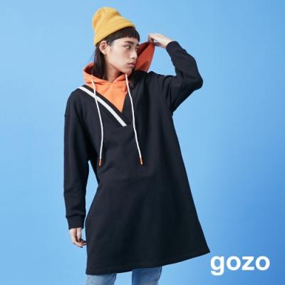 gozo 假兩件撞色連帽洋裝(黑色)