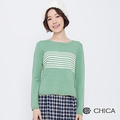 CHICA 慵懶周末撞色條紋圓領針織衫(2色)