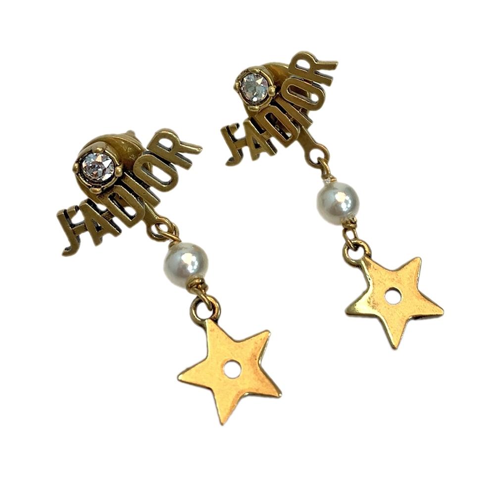 DIOR 經典J'ADIOR LOGO垂墜星星造型穿式耳環(古銅金)