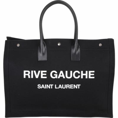 [專櫃價40500 限時下殺63折] YSL Saint Laurent Rive Gauche 帆布手提托特包(黑色)