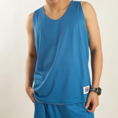 【FIVE UP】男款雙面穿吸排籃球背心-中藍