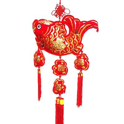 摩達客 農曆春節新年元宵-絨金刺繡亮片魚福三流蘇吊飾/掛飾