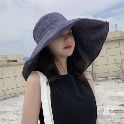 【89 zone】日系文藝百搭大帽簷沙灘防曬/遮陽帽(藏青)