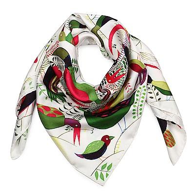 HERMES Bal Des Oiseaux 真絲披肩方型絲巾-白色