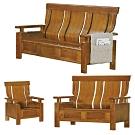 綠活居 魯瑟典雅風實木抽屜沙發椅組合(1+2+3人座+六抽屜設置)