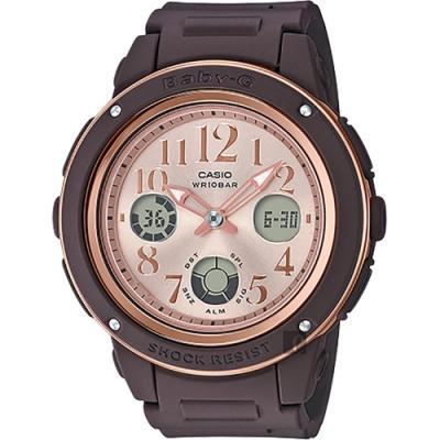CASIO 卡西歐 BABY-G 秋冬優雅手錶-咖啡(BGA-150PG-5B1)