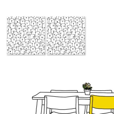 【24mama 掛畫】二聯式 油畫布 手繪風 北極熊 線條 黑白 小熊 無框畫-50x50cm(排排站)
